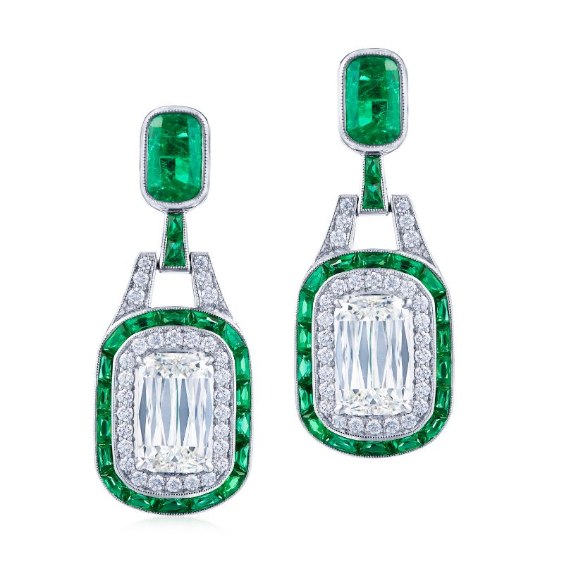 Kwiat Ashoka Diamond Pendant Earrings with Emerald Halos