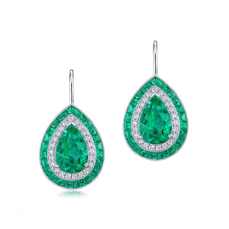 Kwiat Pendant Colombian Emerald Diamond Earrings