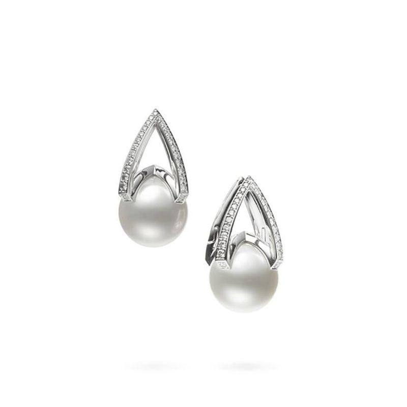 Mikimoto Earrings WSSP A+ 11mm(2) R Diamond 0.30ct(54) 18KWG  / Clip Pierced