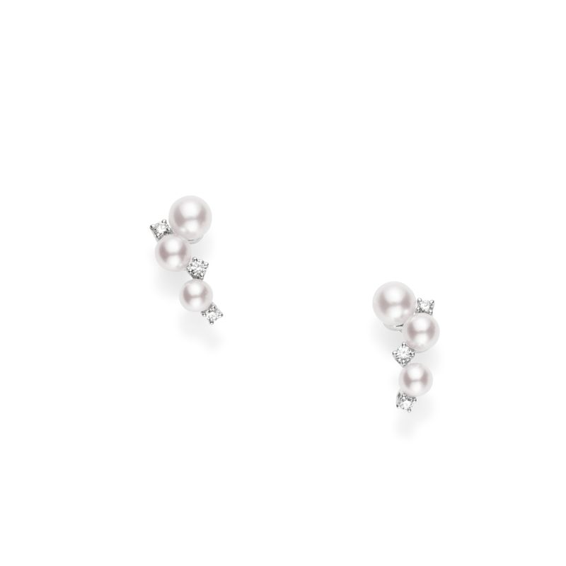 Earrings Akoya 3.25mm(2), 3.75mm(2), 4.25mm(2) Diamond 0.06ct(6) 18KWG