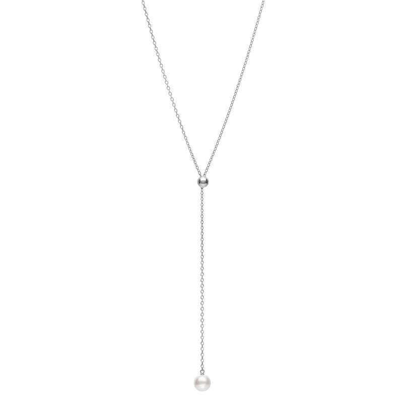 Pendant Adjustable Slide Lariat Akoya A+ 7.5mm(1) 18KWG 20