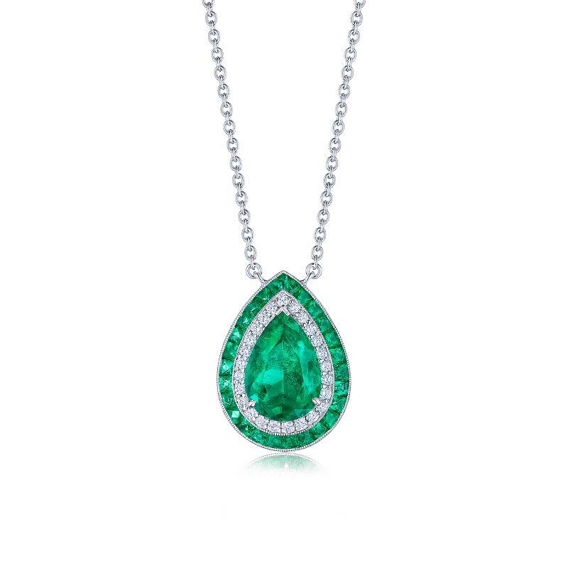 Kwiat Colombian Emerald Diamond Pendant Necklace
