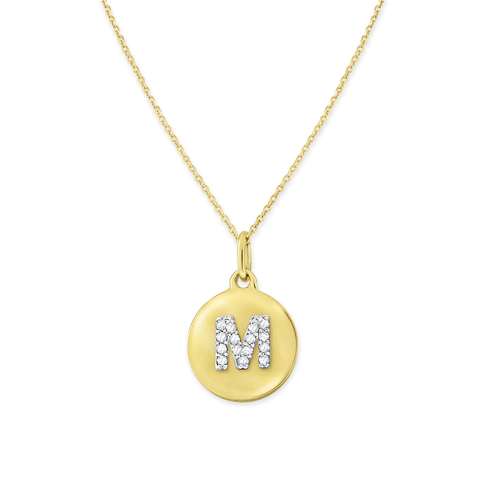 Deutsch Signature Initial Disc Diamond M Pendant