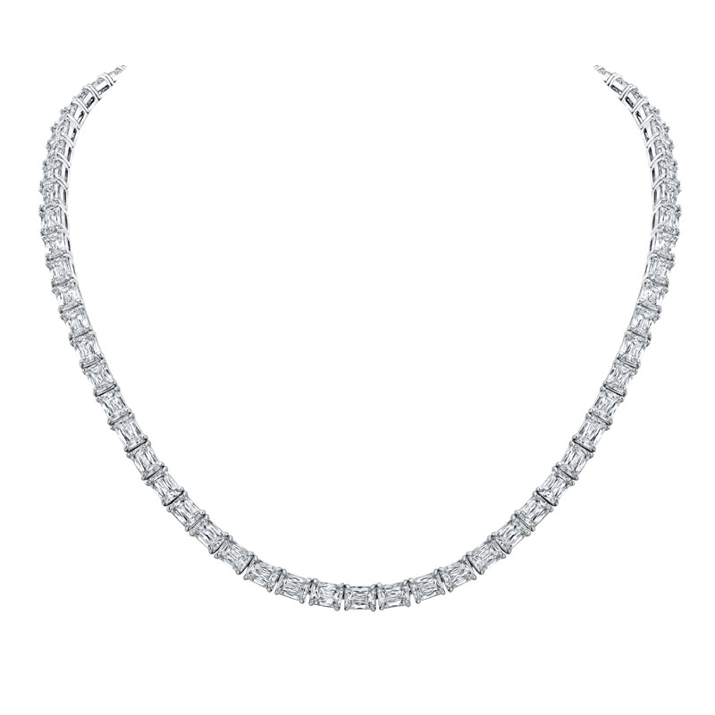 Norman Silverman Emeral Cut Diamond Necklace