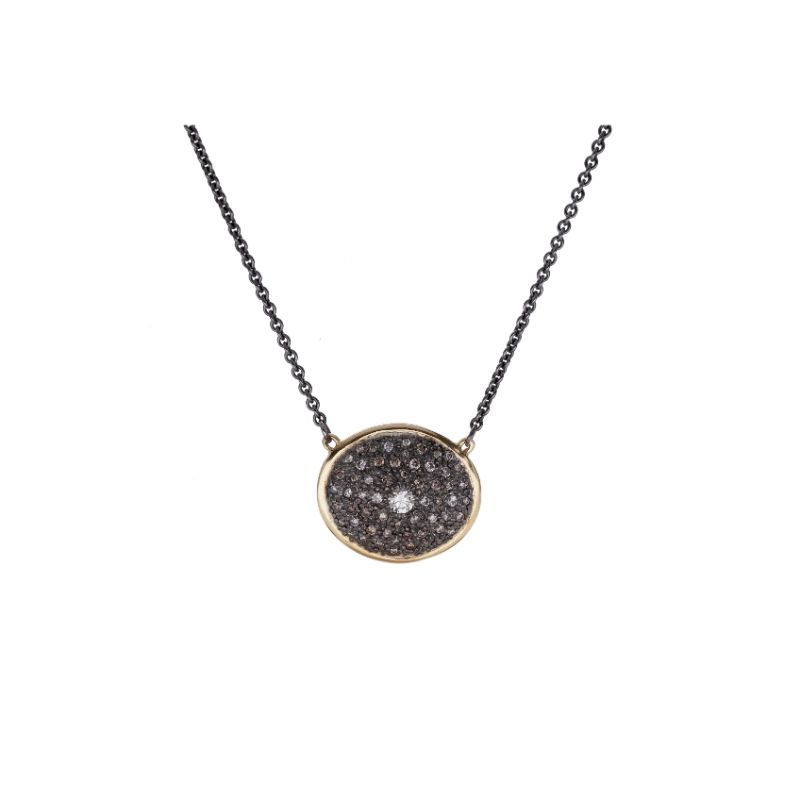 Old World  Pave Champagne Diamond Inset Oval Necklace