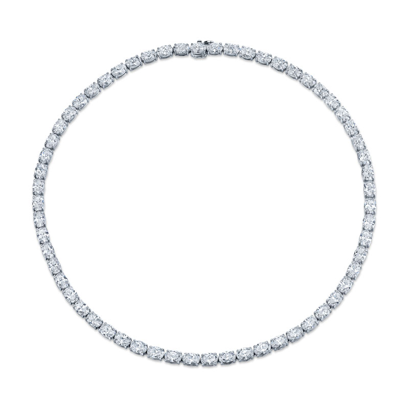 Norman Silverman East West Oval Diamond Necklace