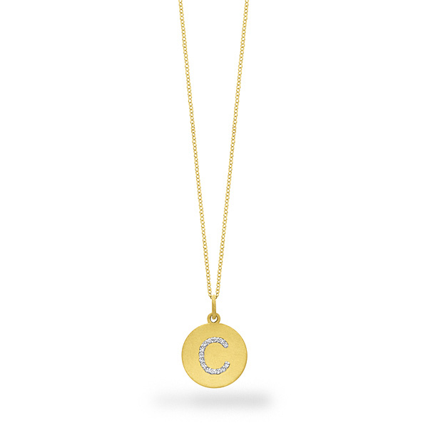 Deutsch Signature Initial Disc Diamond C Pendant
