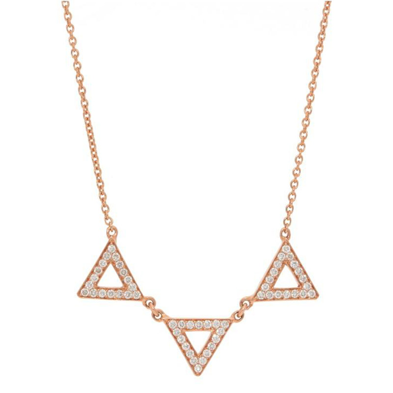 Deutsch Signature Three Open Pave Diamond Triangle Necklace
