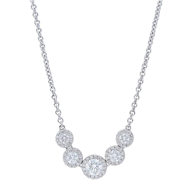 Deutsch Signature Five Stone Diamond Halo Necklace