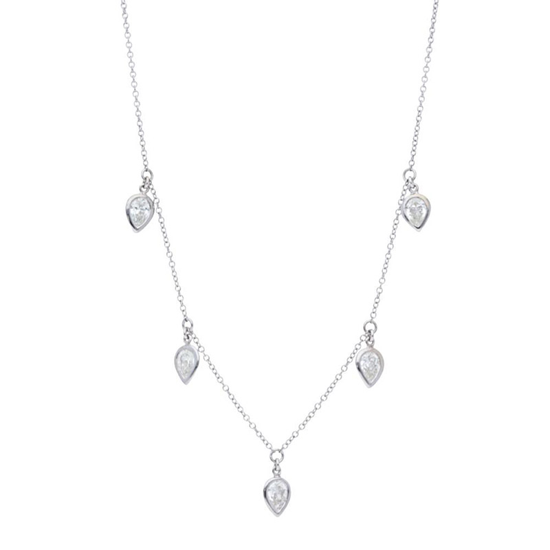 Deutsch Signature 5 Pear Diamond Bezel Dangles Necklace