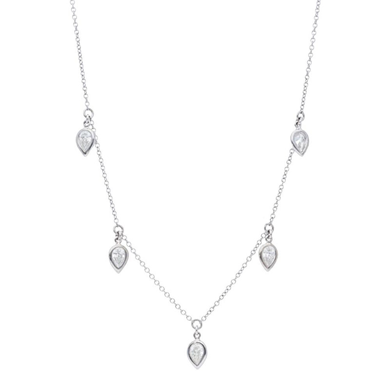 Deutsch Signature 5 Pear Diamond Bezel Dangles Necklace