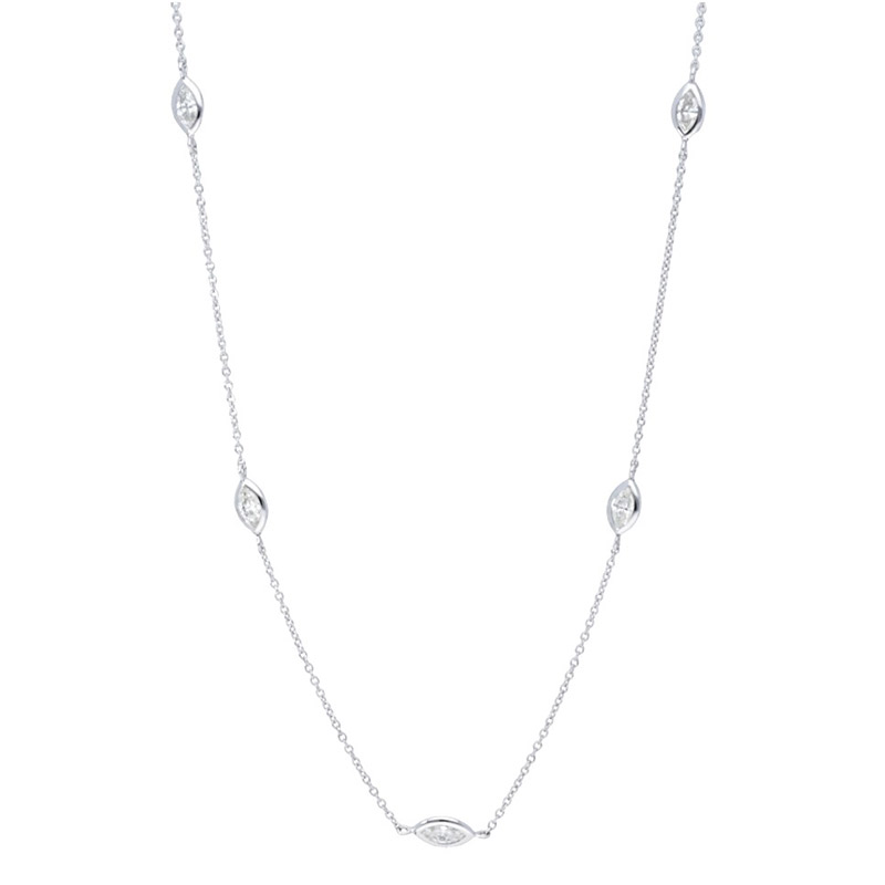 Deutsch Signature 5 Polished Bezel Marquise Diamonds by the Yard Necklace