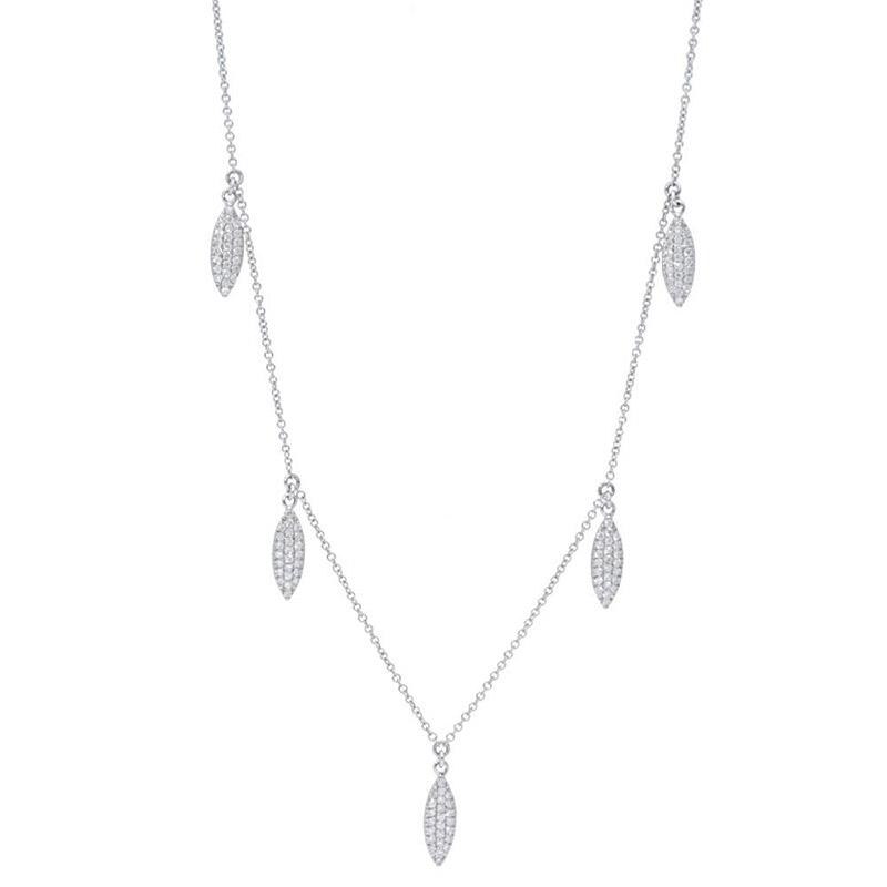 Deutsch Signature 5 Pave Diamond Marquise Shape Dangle Necklace