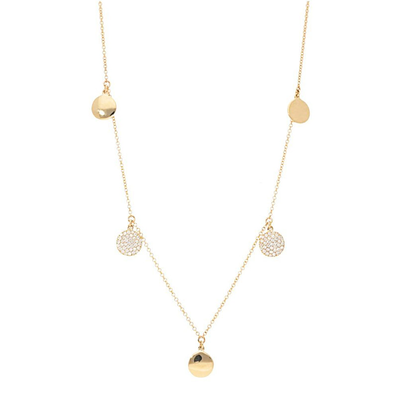 Deutsch Signature Alternating Diamond Pave and Polished Gold Disc Necklace