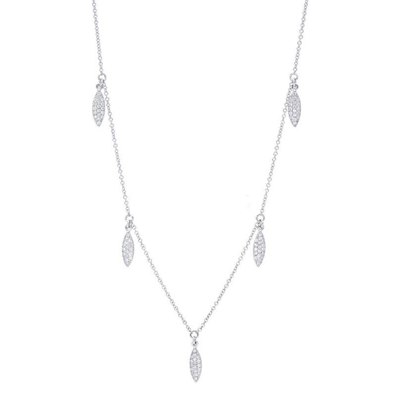 Deutsch Signature Alternating Diamond Pave and Polished Marquise Shape Dangles Necklace