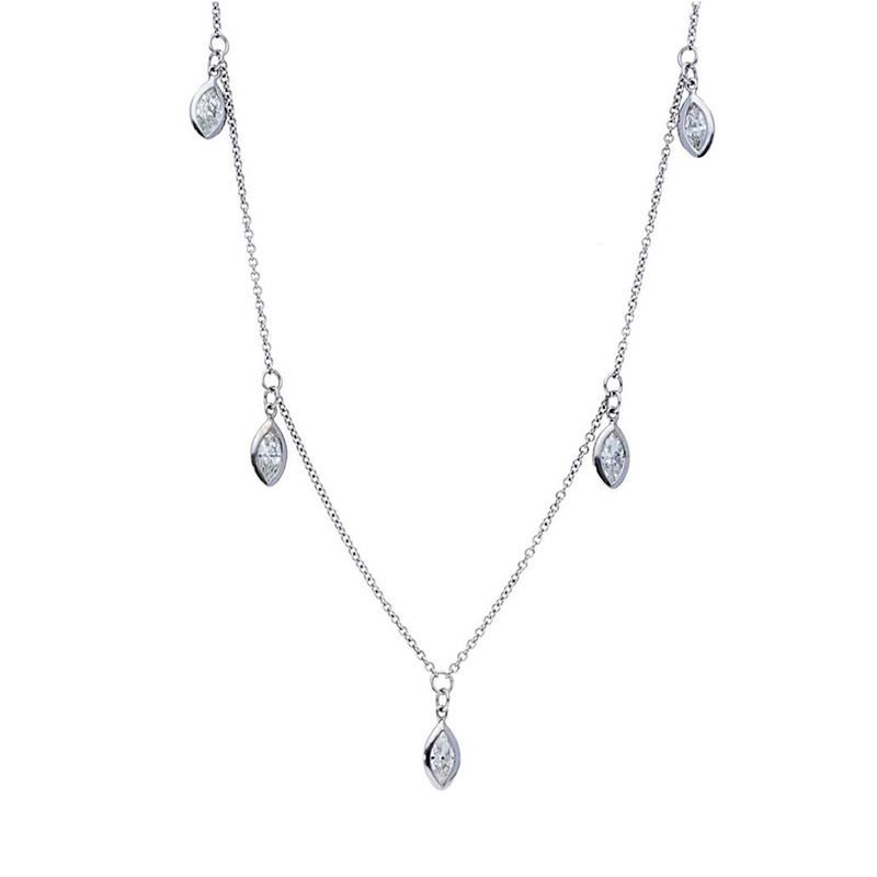 Deutsch Signature Five Marquise Diamond  Bezel Dangles Necklace