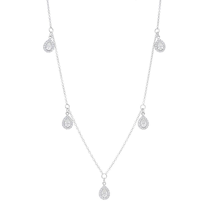 Deutsch Signature Five Diamond Marquise Halo Dangles Necklace