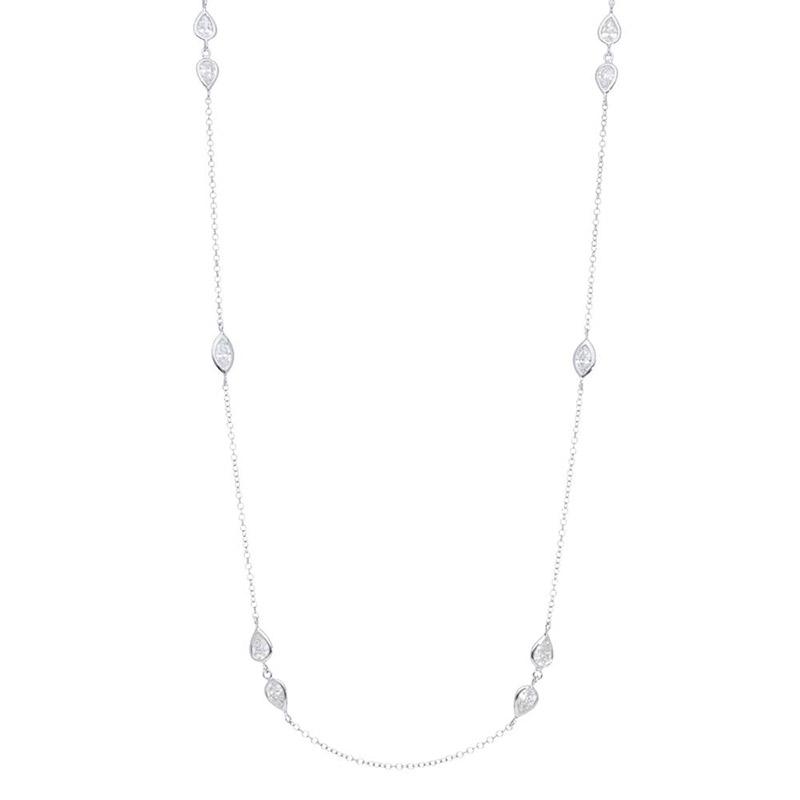 Deutsch Signature Double Diamond Pear Bezel Alternating Marquise Bezel Necklace