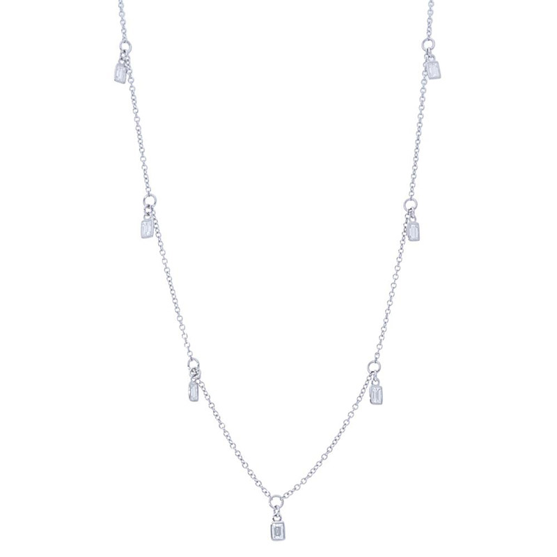 Deutsch Signature Nine Baguette Diamond  Bezel Dangles Necklace