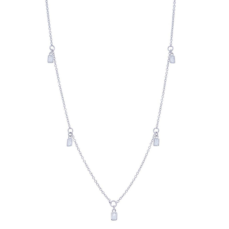 Deutsch Signature Five Baguette Diamond  Bezel Dangles Necklace