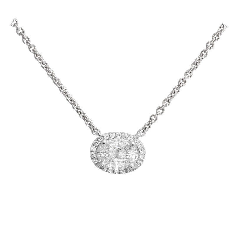 Jye's Cluster Diamond Halo Pendant Necklace