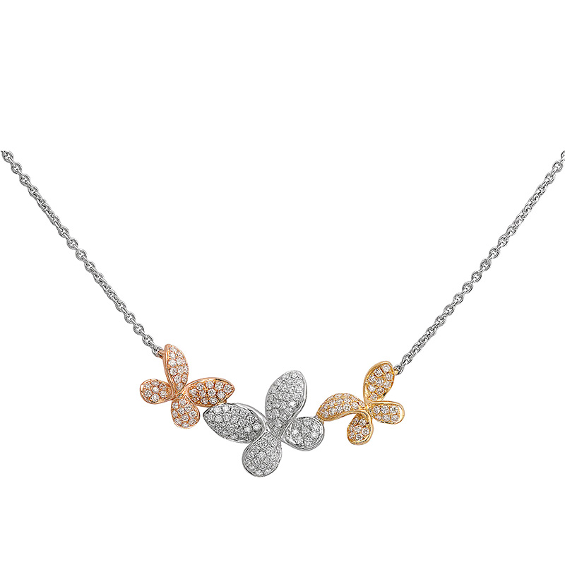 Jye's Pave Diamond Butterfly Necklace