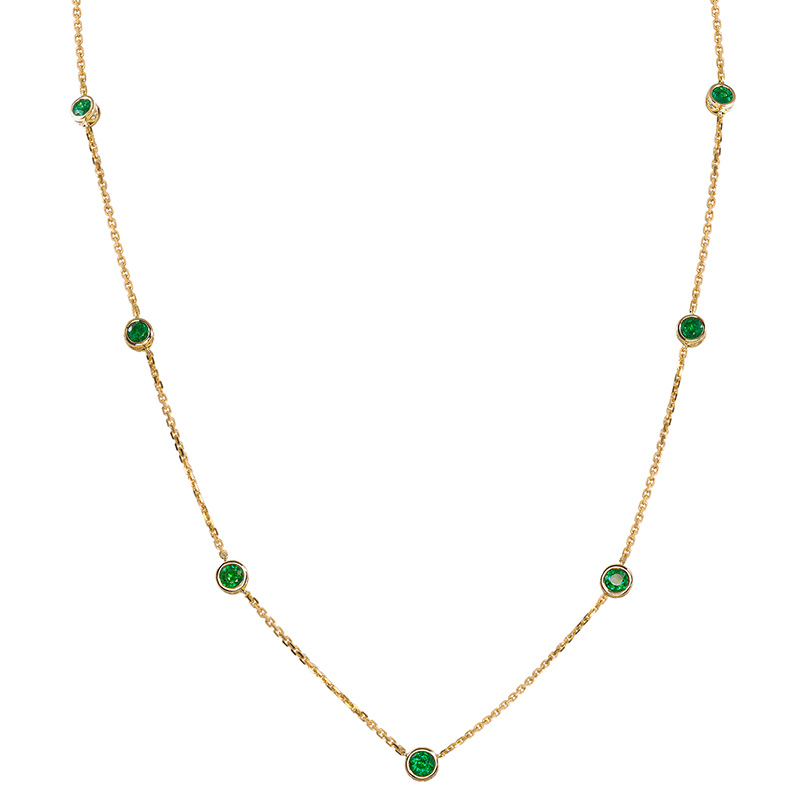 Jye's Bezel Emerald and Diamond by the Yard Necklace