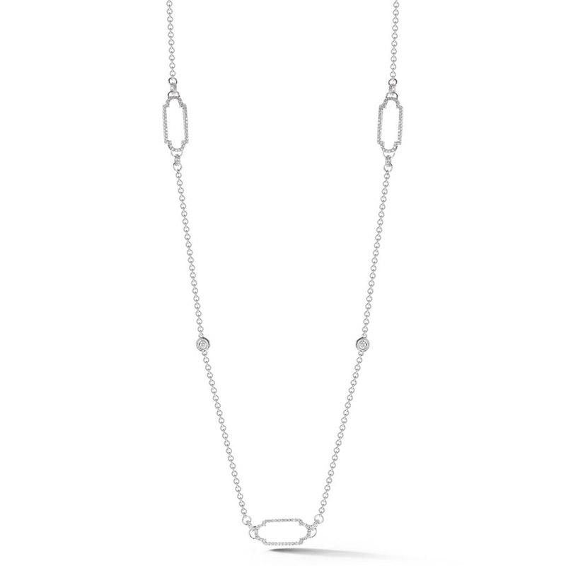 Deutsch Signature Open Pave Diamond Deco Links with Diamond Bezel Necklace