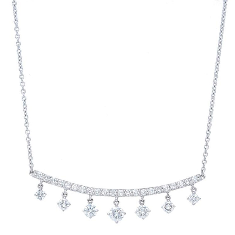 Deutsch Signature Curved Diamond Bar with Dangles Necklace