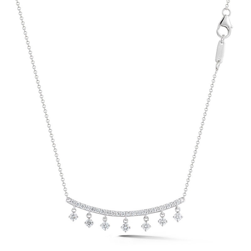 Deutsch Signature Curved Diamond Bar Necklace with Diamond Dangles
