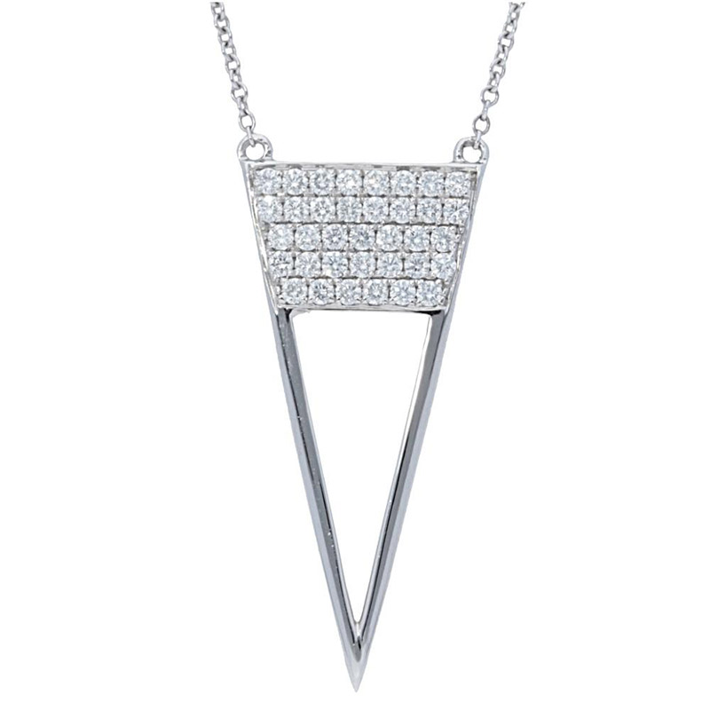 Deutsch Signature Pave Diamond Open Triangle Necklace