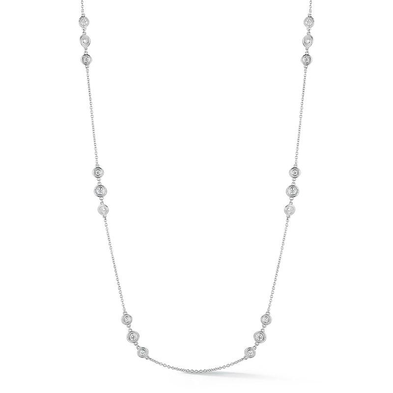 Deutsch Signature Triple Milgrain Bezel Diamonds by the Yard Necklace