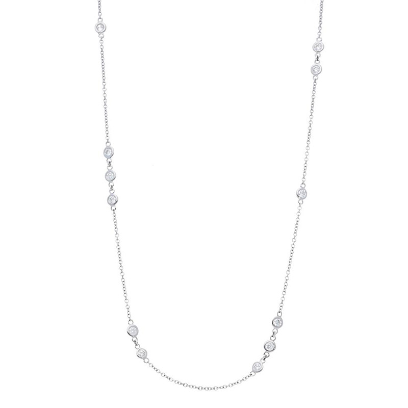 Deutsch Signature Scattered Polished Bezel Diamonds by the Yard Necklace