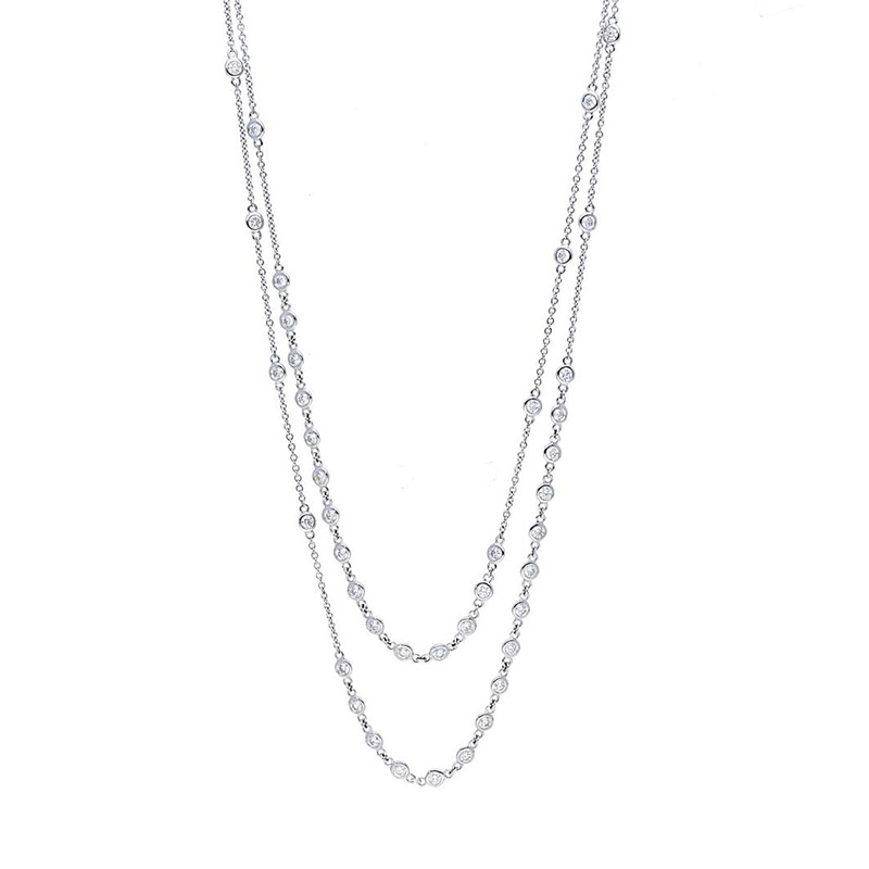 Deutsch Signature Double Strand Scattered Polished Bezel Diamonds by the Yard Necklace