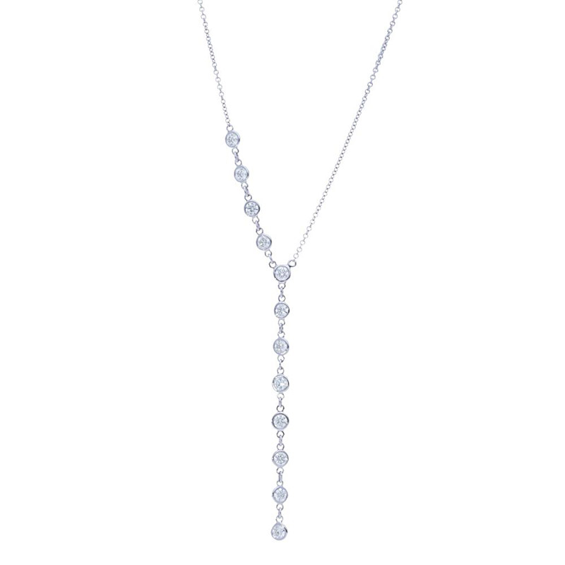 Deutsch Signature Half Plain Bezel Diamonds by the Yard Drop Necklace
