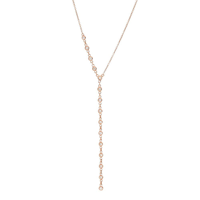 Deutsch Signature Half Plain Bezel Diamonds by the Yard Drop Necklace