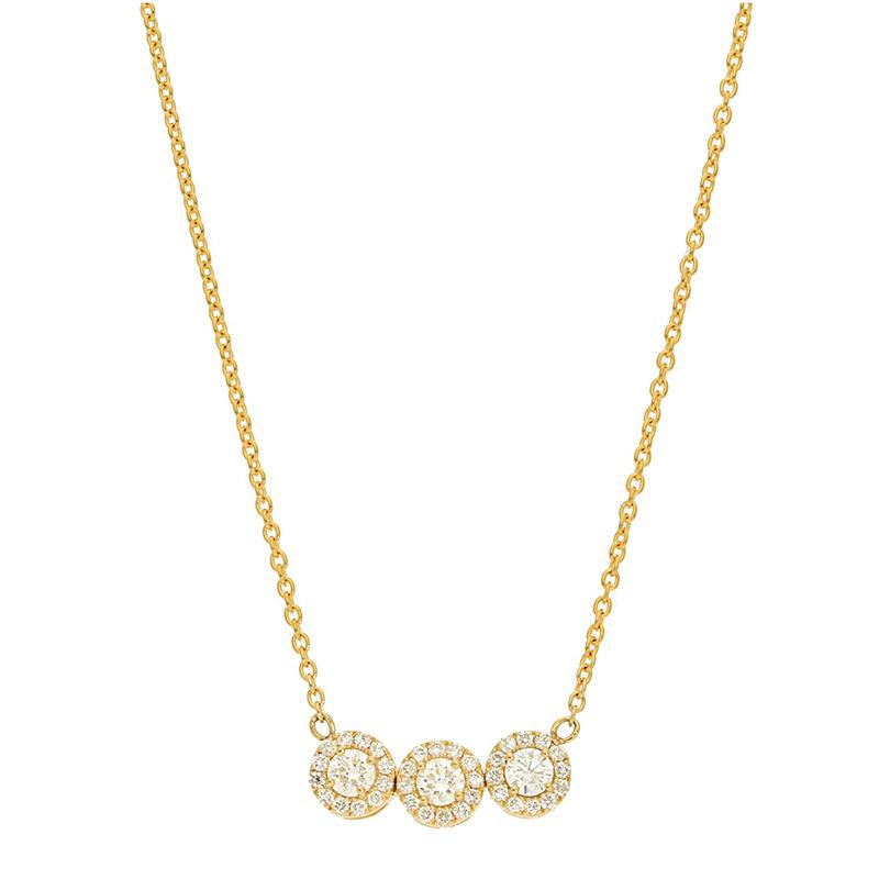 Deutsch Signature 3 Halo Diamond Necklace