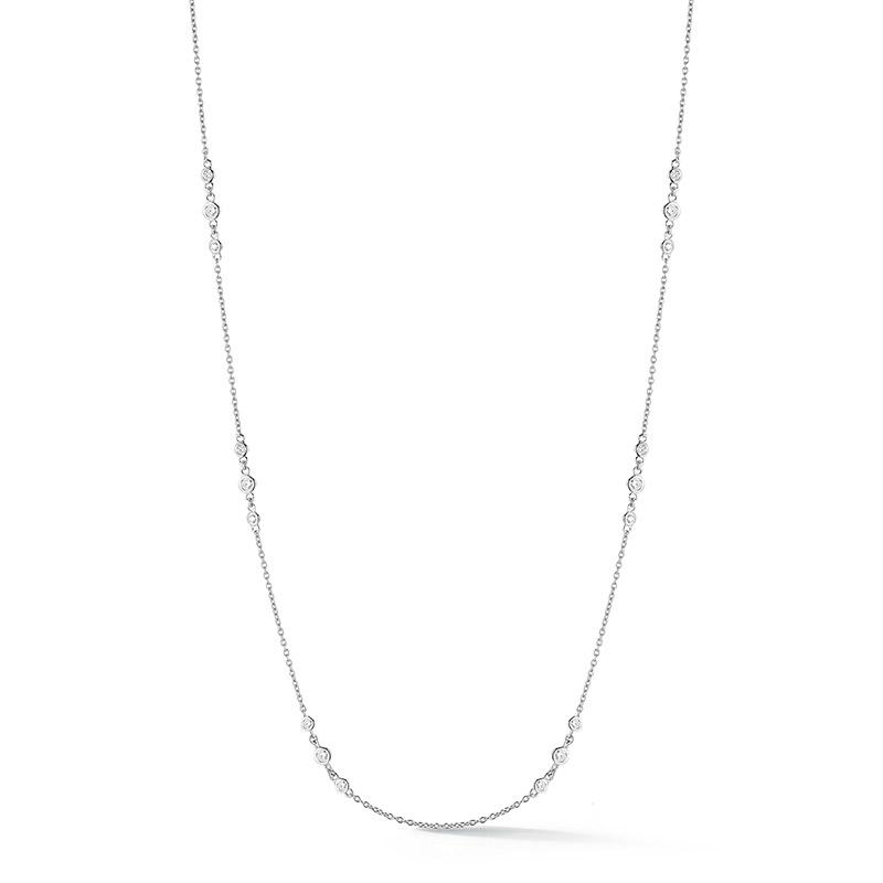 Deutsch Signature Three Station Plain Bezel Diamonds by the Yard Necklace