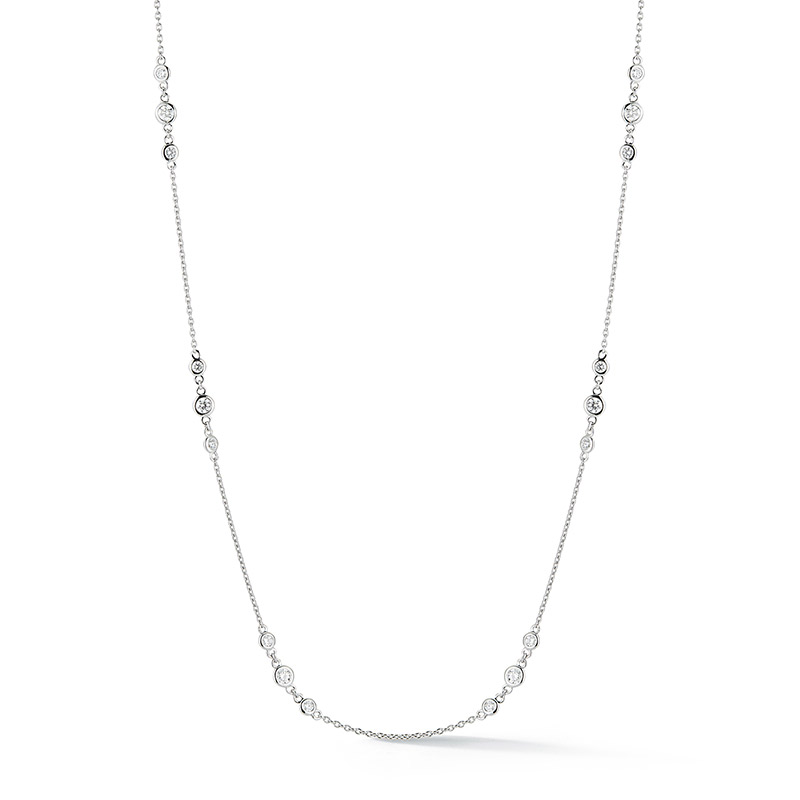 Deutsch Signature Three Station Plain Bezel Diamonds by the Yard Necklace