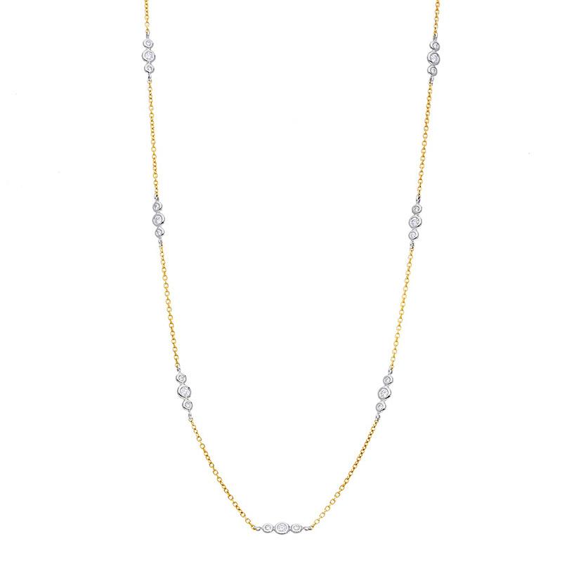 Deutsch Signature Alternating 3 Station Diamond Bezel Necklace