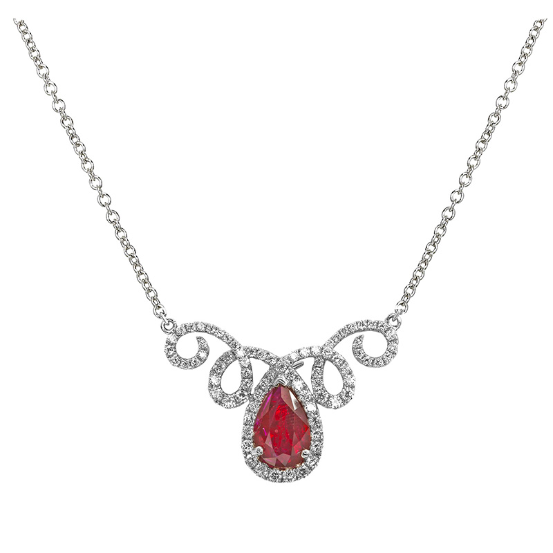 Jye's Ruby and Round Diamond Halo Pendant