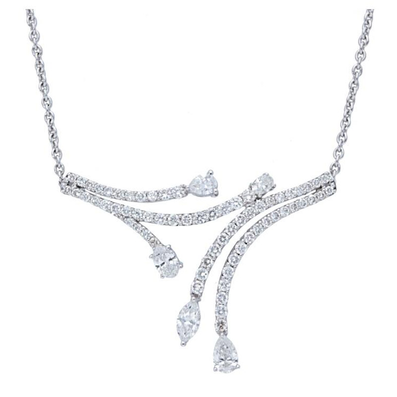 Deutsch Signature Diamond Pave Lines with Pear and Oval Diamond Necklace