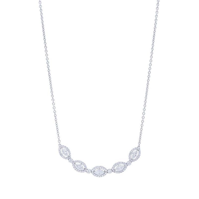 Deutsch Signature 5 Marquise Halo Diamond Necklace