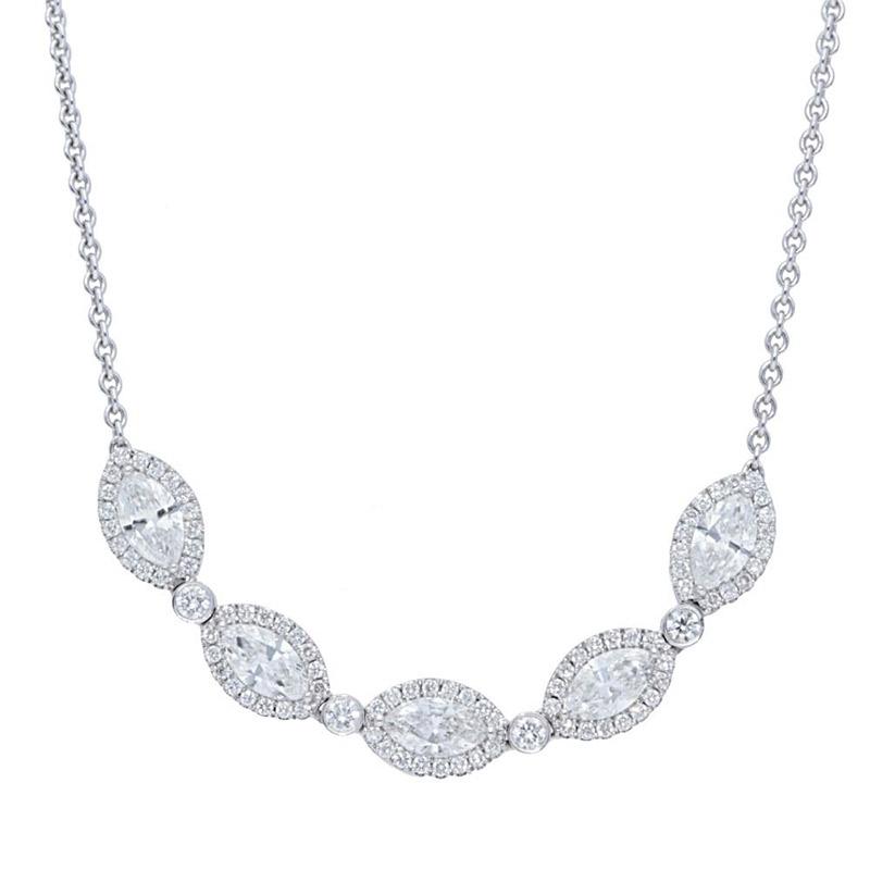 Deutsch Signature Alternating 5 Marquise Halo Diamond and Plain Diamond Bezel Necklace