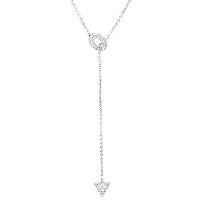 Deutsch Signature Pave Diamond Open Oval and Traingle Shape Drop Necklace