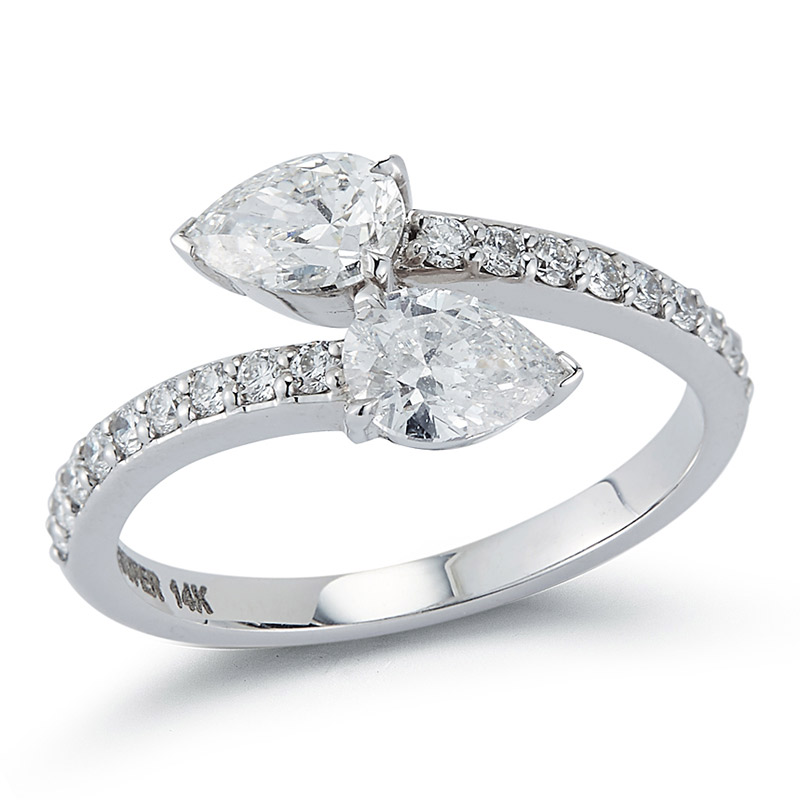 Deutsch Signature Pear Diamond Bypass Ring