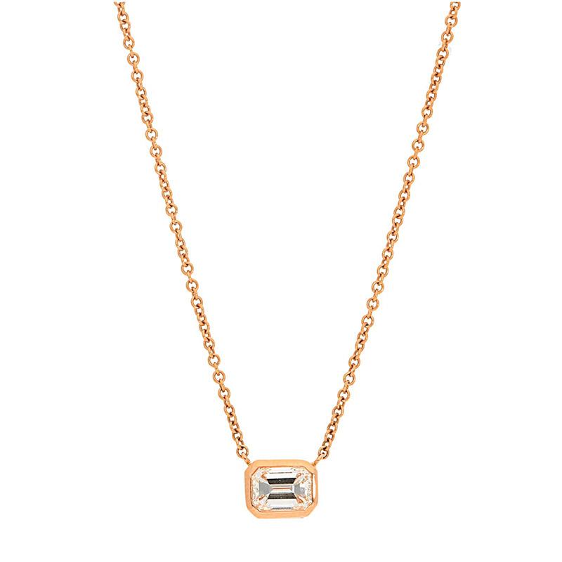 Deutsch Signature Sideways Emerald Bezel Diamond Necklace