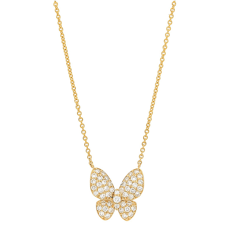 Deutsch Signature Pave Diamond Butterfly Necklace