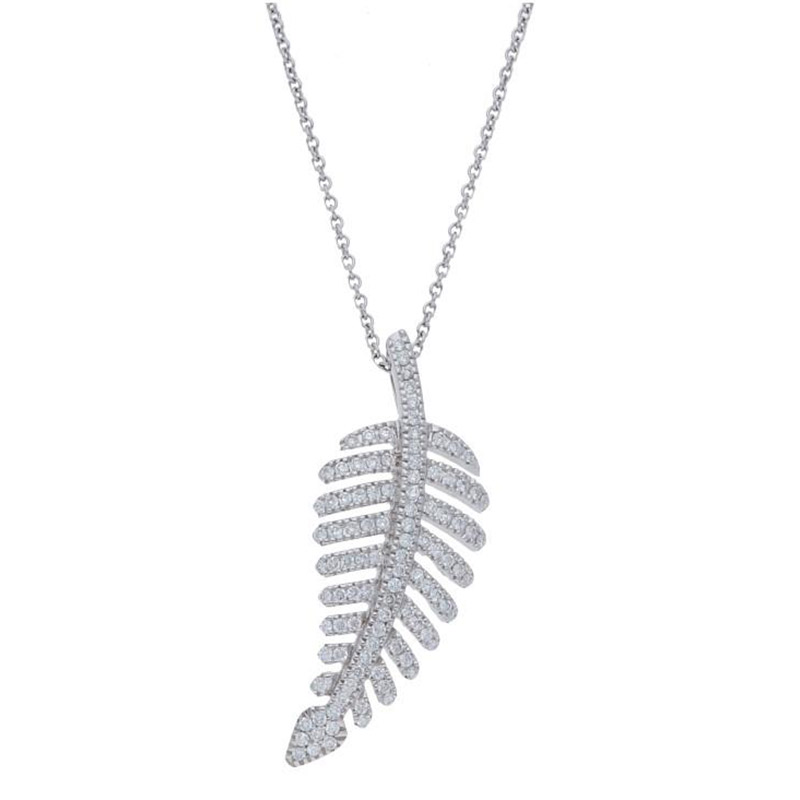 Deutsch Signature Pave Diamond Leaf Pendant