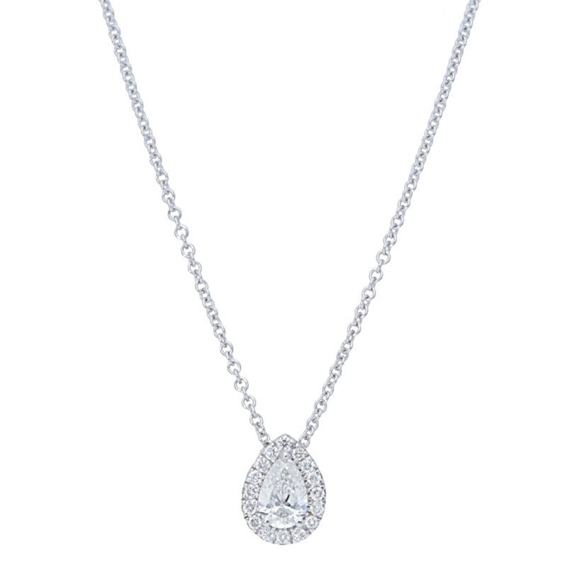 Deutsch Signature Pear Shape Halo Diamond Pendant